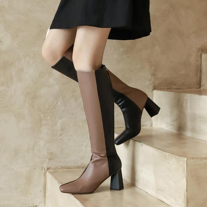 Kickway Лоскутная Boots Женщины Марка Женщины Зимняя обувь Зимняя обувь Сапоги Warmful высокого качества Knee High Загрузочный 34-40