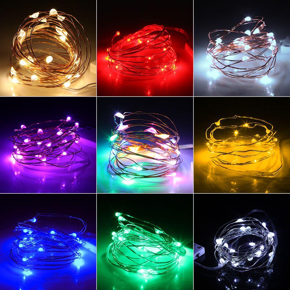 50 pcs 1m 2M LED luzes de Natal operadas bateria à prova d 'água de cobre mini luzes de corda para festa de casamento diy frascos decoratio