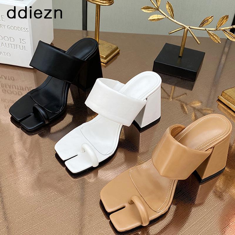 Elbise Ayakkabıları 2021 Kadın Pompaları Açık Toe Sandalet Bayanlar Moda Bölünmüş Açık Kare Yüksek Topuklu Terlik Kadın Nedensel