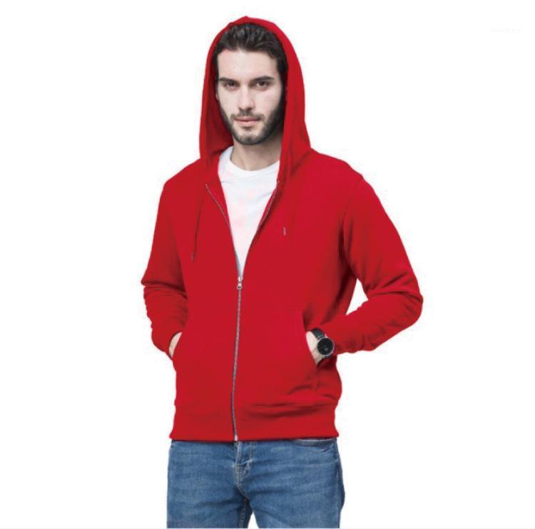 Cardigan Fashion Solid Color Hooded Zipper Hoodies reine Farben-Langarm-Cardigan Herren Designer Hoodies