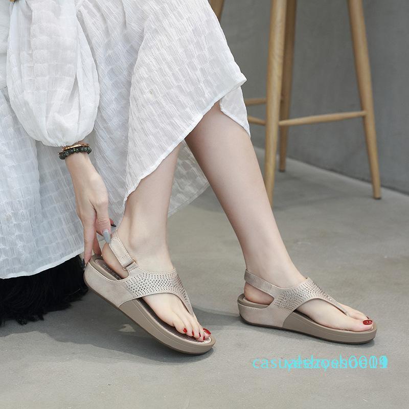 Chaussures d'été Sandales Tongs semelle épaisse dames Wedges Sandales d'été de vacances Casual femme Plage Chaussons Y14
