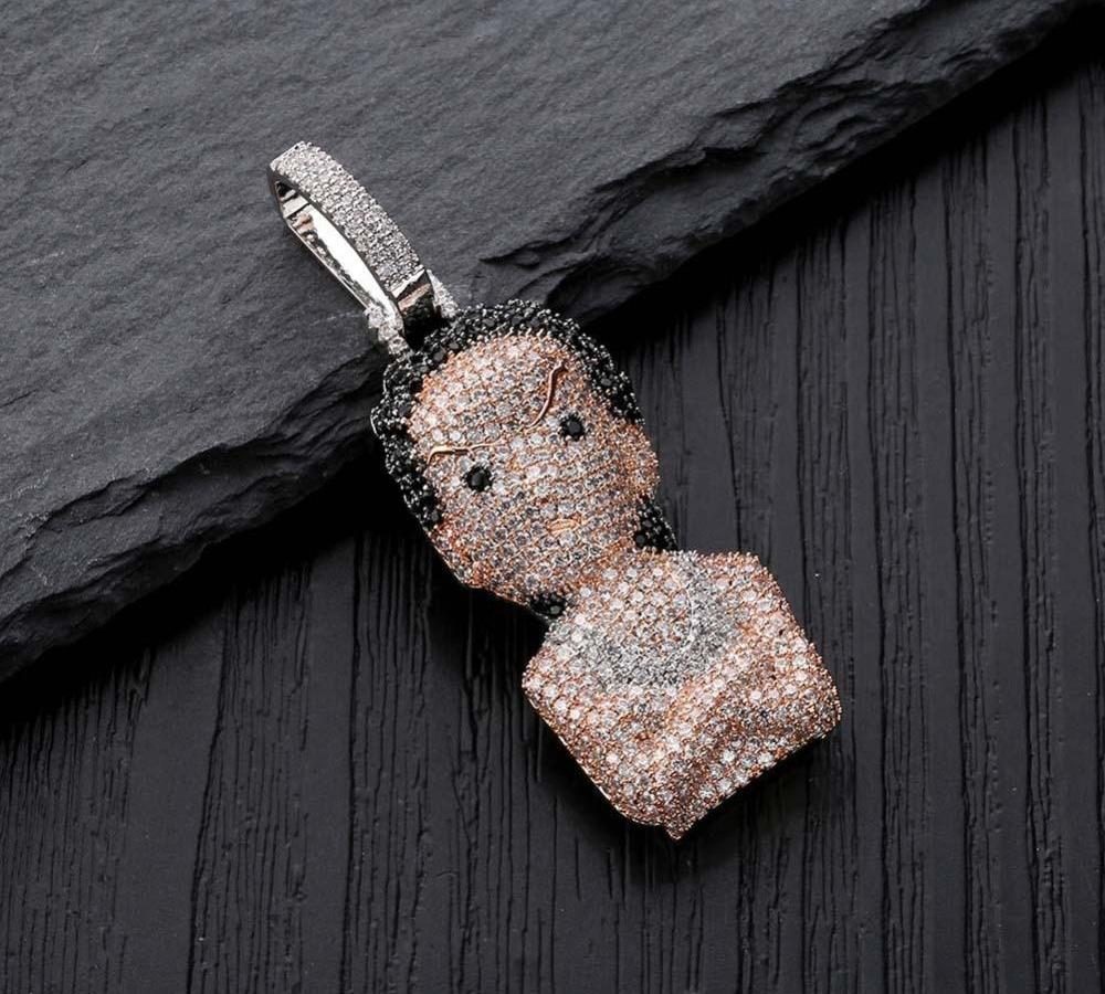 La fille Cartoon Boondocks Pendentif Collier Zircon Glacé Sliver chaîne Hommes Femmes Hip Hop Jewelry98