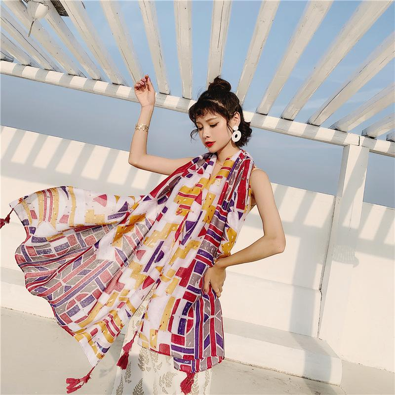 Spring Autumn Summer New Scarf Ladies Travel Cotton And Linen Scarf Long Sunscreen Beach Towel Big Shawl Gauze Wraps Headband