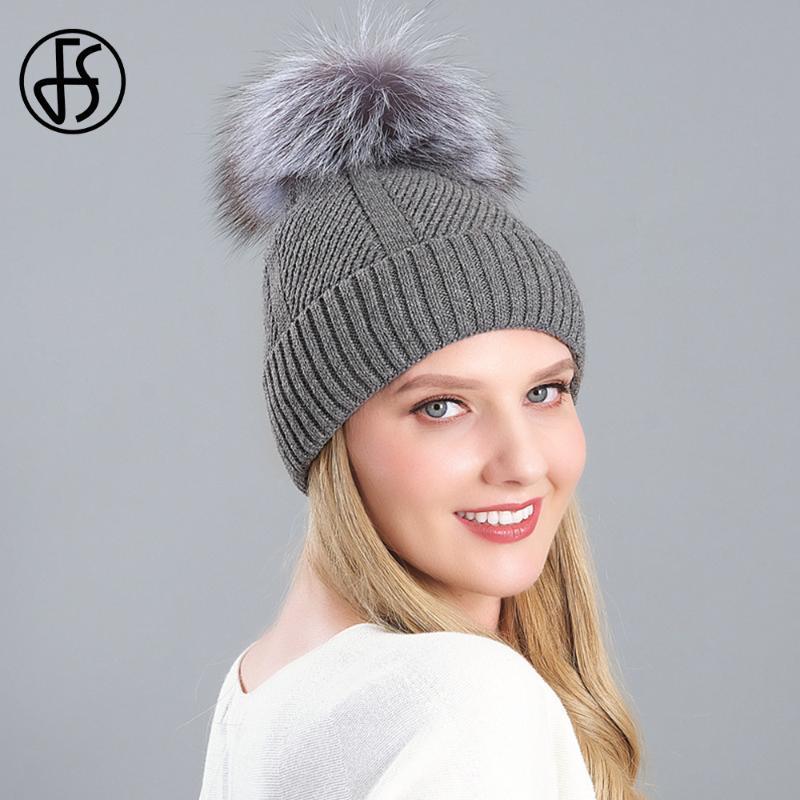 FS 2020 Knitted Women Beanie Real Raccoon Fur Pompom Hat Skullies Beanies Fashion Gray Ski Cap Winter Velvet Bonnet