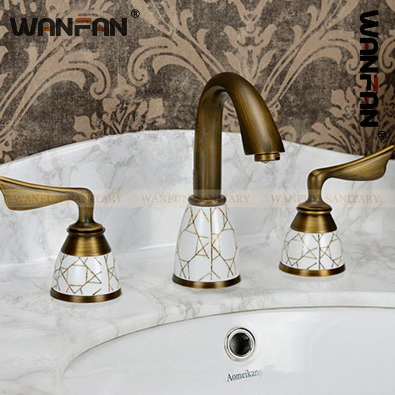 Badezimmer Antike Euro Bassin-Hahn-Doppelhalter Drei Löcher aus massivem Messing warmes und kaltes Wasser Badezimmer-Hahn-Mischer-Hahn-S79-305