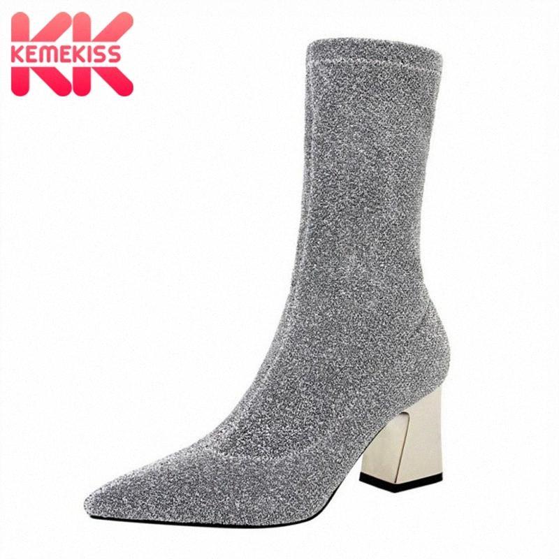KemeKiss Frauen High Heels Stiefel Winter warme Stretch Stiefel Thick Heels Glanz Frau Schuhe Mode Sexy mittlere Kalb Größe 34 40 Günstige Cowgirl ur8b #