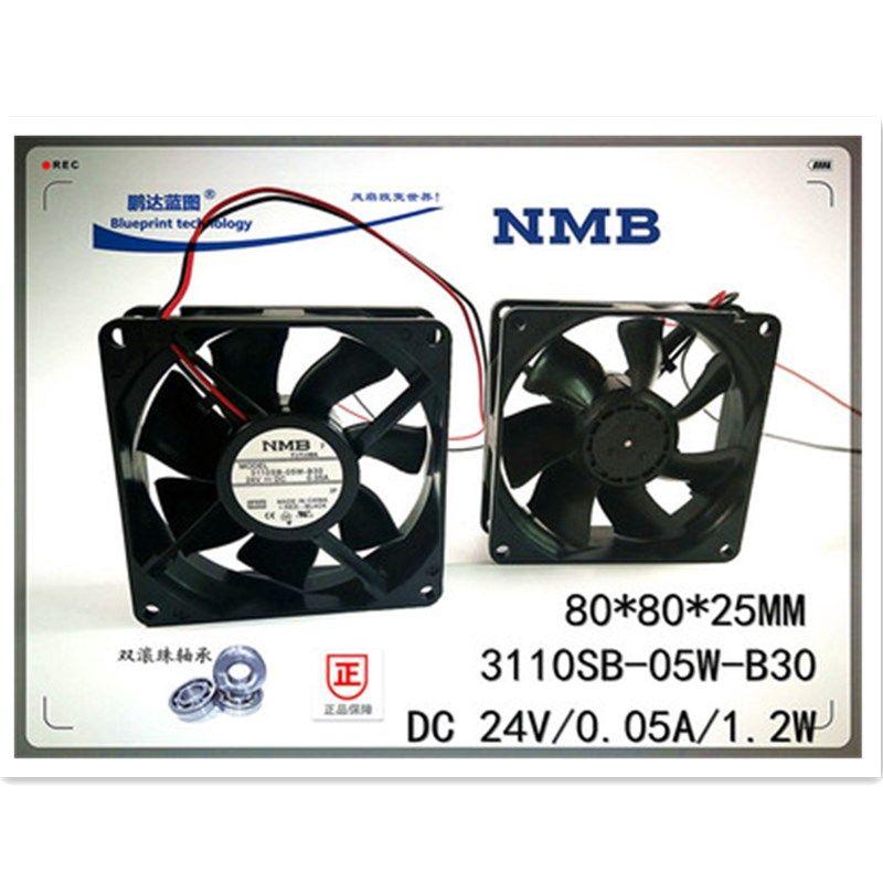 Оригинальный НМБ 3110SB-05W-B30 Два шарик подшипника 8см 80MM 8025 80 * 80 * 25MM охлаждающего вентилятор 24V 0.05A Частотный вентилятор