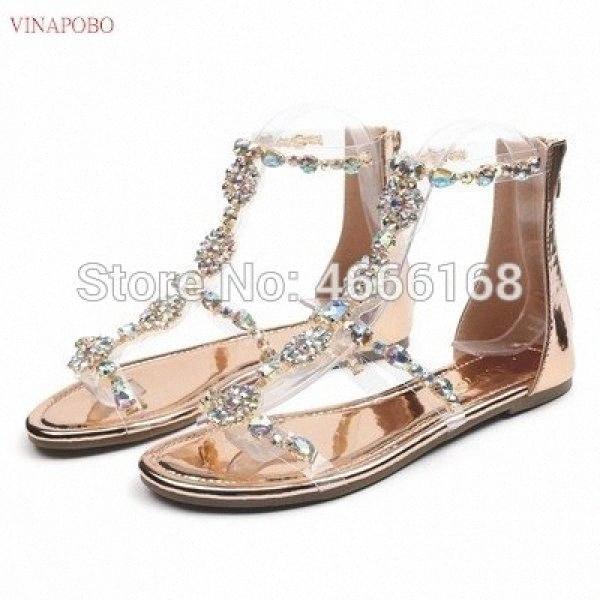 Kadınlar Şeffaf Sandalet Rahatlık Kadın Ayakkabı Rhinestones Düz Sandalet Kristal Sandalias Bayan Ayakkabıları Kadın Sandalie Kadın Ayakkabı zCXV #