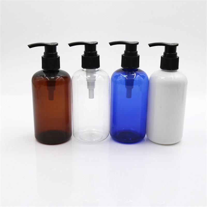 فارغة الشعر أزرق أبيض واضح 150pcs 250 ملليلتر العنبر الحيوانات الأليفة البلاستيك شامبو زجاجة مع مضخة وألومنيوم كاب