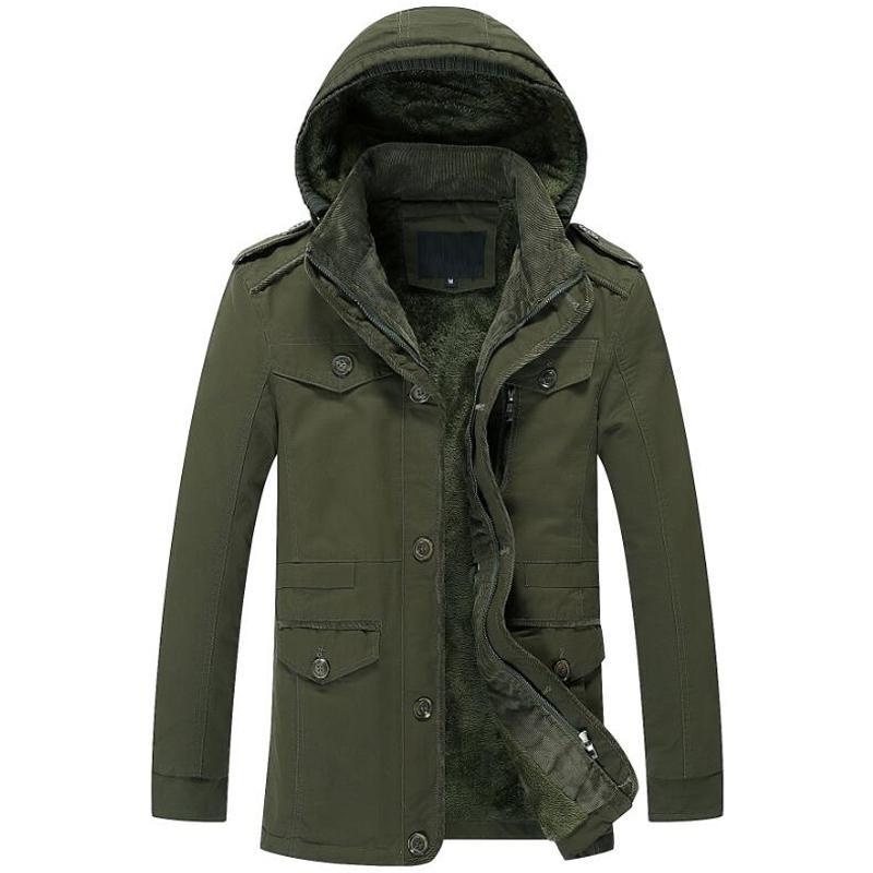 Invierno espesa la chaqueta de los hombres, además de terciopelo a prueba de viento caliente Lavar las capas del algodón Mens ocasionales Outwear cazadora militar del ejército chaquetas 6XL
