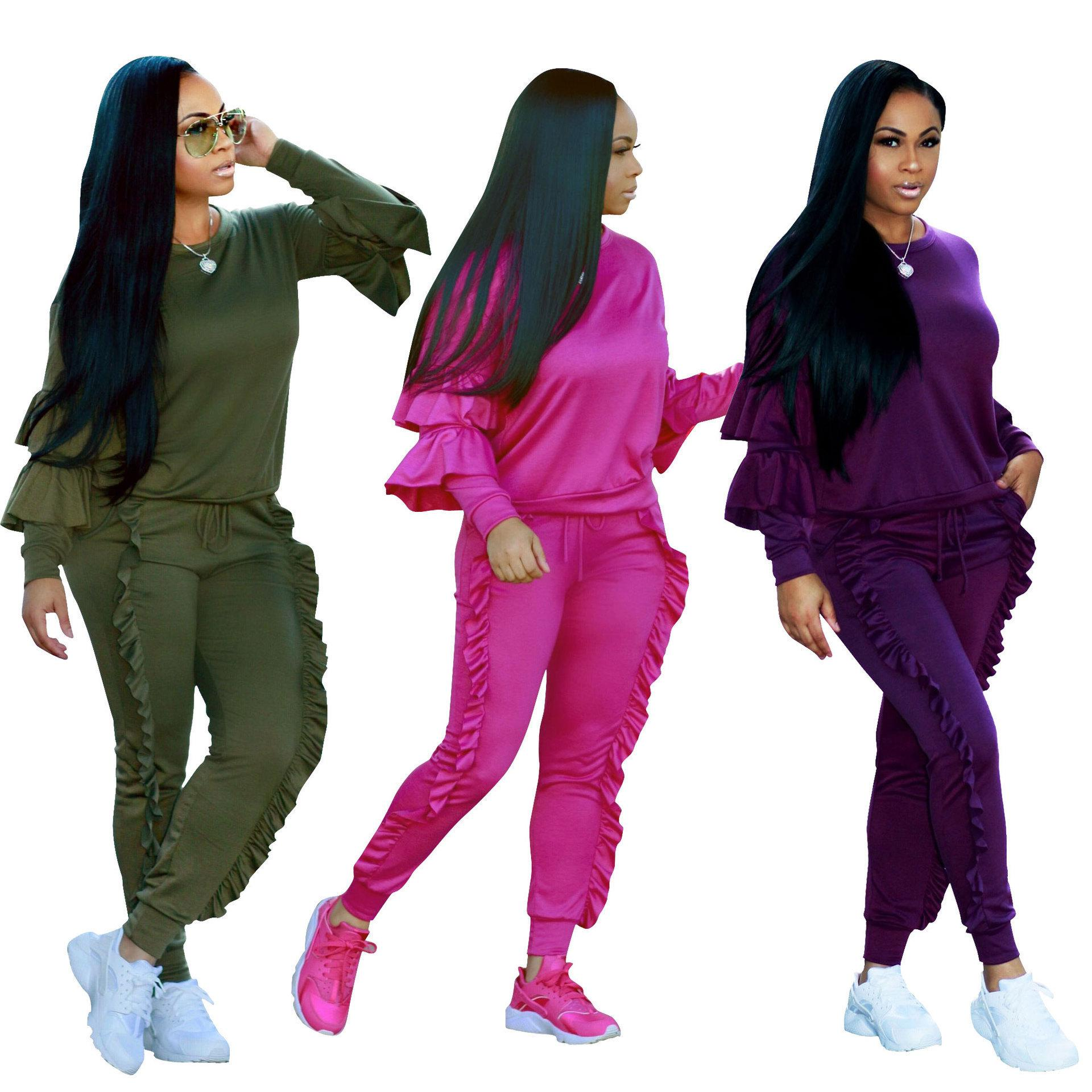 Women Tracksuits Two Pieces Set Solid Colour Long Sleeves And Pants Laces Ladies New Fashion Autumn And Winter Sportwear Eight Colors 2020