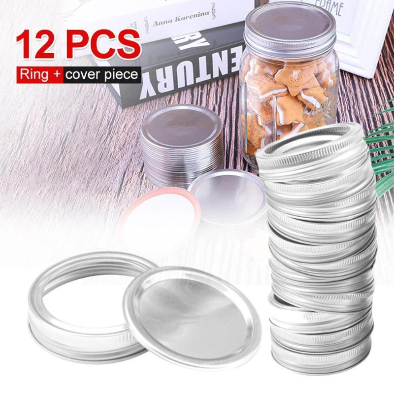 12 Pcs / set Canning Tampas regulares Mouth Mason Jar tampas à prova de ar rígido de armazenamento Canning armazenamento capacitores sólidos Início Ferramentas