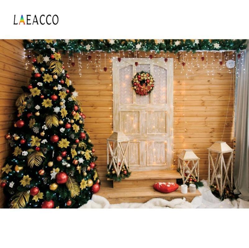 Foto sfondo tavola di legno Yard Albero di Natale allegro Lampadina Palla accogliente Partito Fotografia Decor Bambino sfondo per Photo Studio