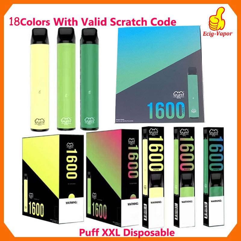 Puff XXL 1600puffs usa e getta con Scratch Valido codice Vape Pen dispositivo di avviamento Kit Svuotare dispositivo monouso Kit Puff Puff Flusso Xtra più