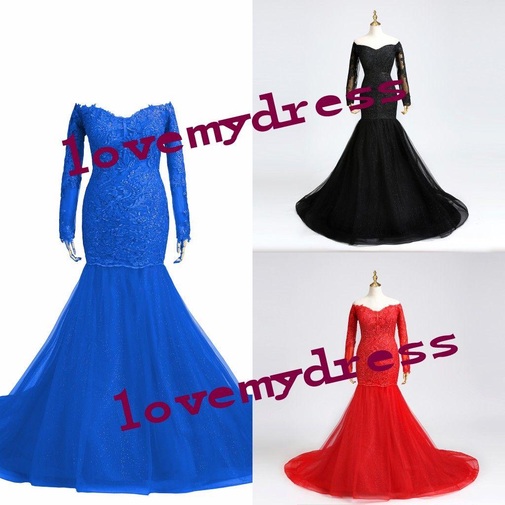 肩の長袖のウエディングのドレス女性の人魚のスタイルのアップリケの服を着た服のイブニングホーマルVestidos de Party Pageantガウン