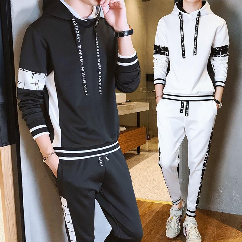 djdOn 2020 осень новый корейский случайные модный 02BCV набор свитер sweaterfor подростки мужского набора свитер стиль для мужчин из двух частей
