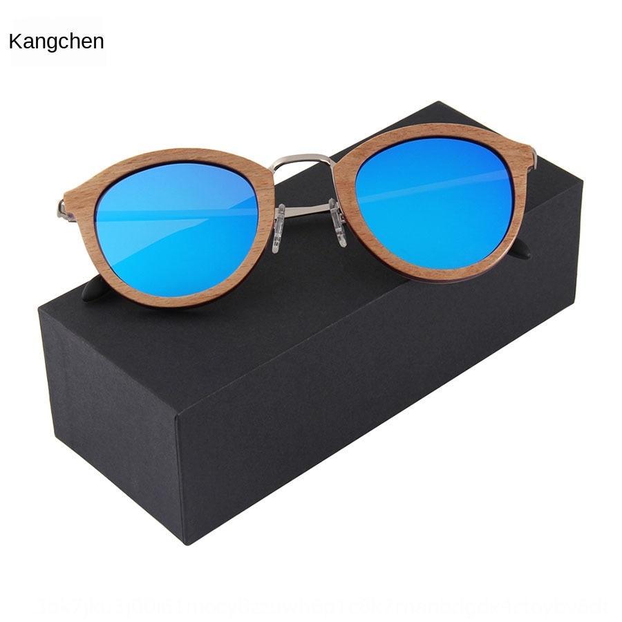 gH95V New areia madeira frame redondo moda dobradiça polarizada de metal vidros de sol óculos unissex confortáveis