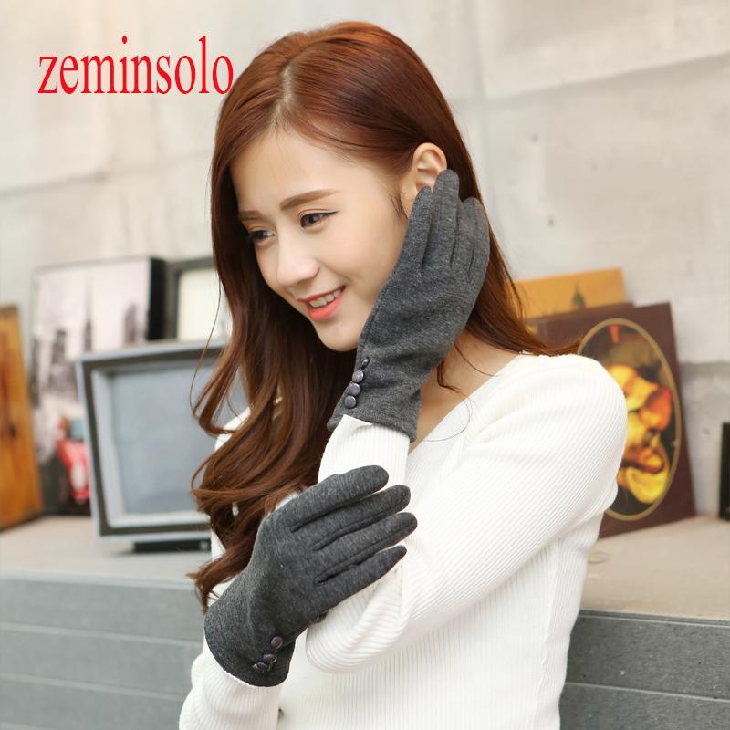 1 par botones Moda Guantes Mujer para pantallas táctiles invierno caliente de la muñeca de las mujeres guantes mitones de lana de piel Mujer largo