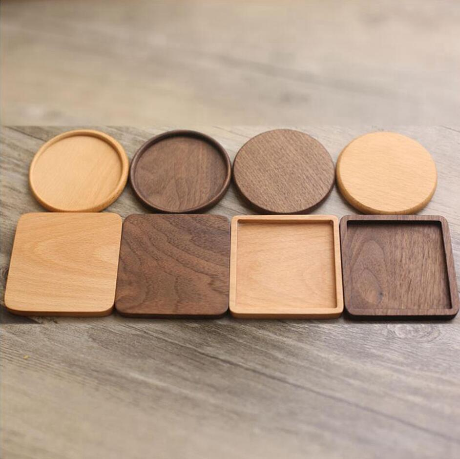 Wooden Coaster Round Square Natural Beech Wood Black Walnut Cup Mat Coffee Caps Coaster Bowl Plates Table Ware Insulation Tools LJJP496
