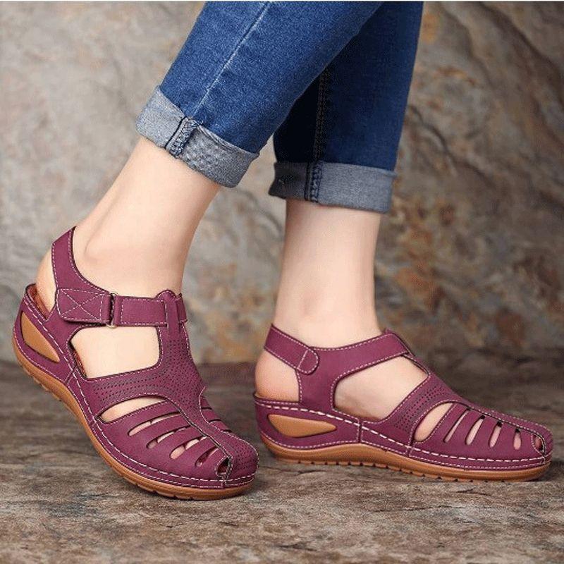Verão Tamanho Grande Retro das mulheres Sandálias Car Linha Poroso Calçados antiderrapante round-Toe Slanted salto sandálias confortáveis