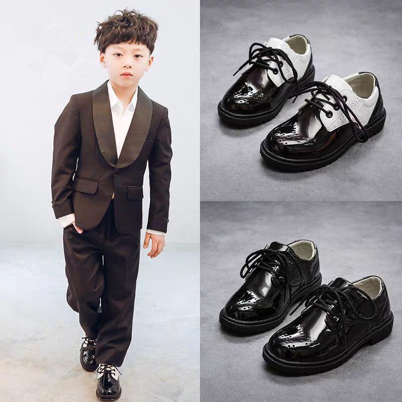 Comfy brogues chaussures formelles garçons tout-petits chaussures habillées en cuir PU élégant 2020 style classique chaussures enfant noir coins de tennis