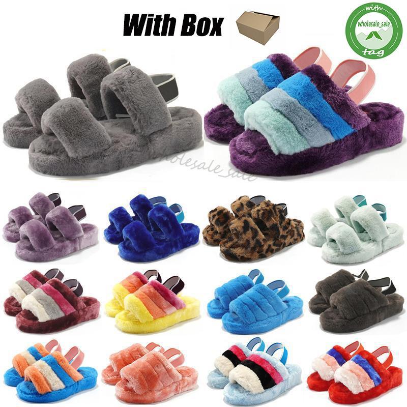 Nuevos últimos zapatos Otoño Invierno Ocio felpa zapatillas imprimen completamente cómodo Inicio zapatillas para damas clásico de bloqueo piel Diapositivas Mujeres