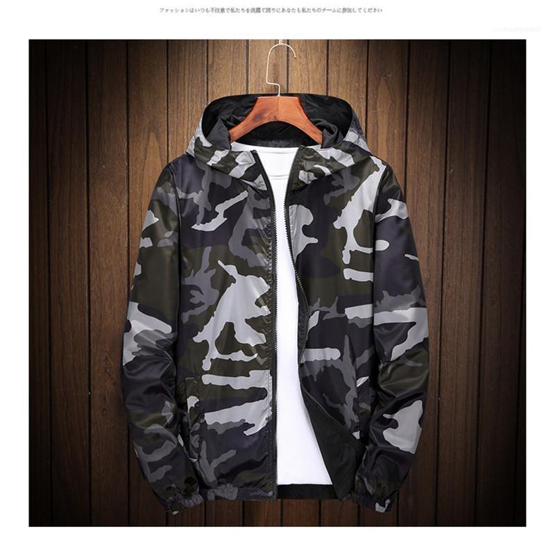Coats Uzun kollu Kontrast Renk İnce Erkek Giyim Erkek Tasarımcı Kamuflaj Baskı Ceket Fermuar Kapşonlu Erkek