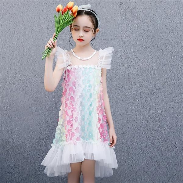 Gökkuşağı Çiçek Frock Todder Yaz Örgü Elbise Kız Yumuşak Kolsuz Prenses Sundress Çocuklar Bir Hat Parti Robe Casual Giyim 0926