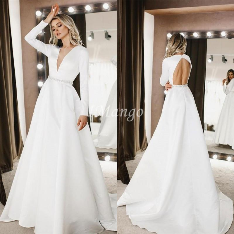 Simple Long Sleeves V Neck Satin Wedding Dresses A Line Bridal Gowns Custom Made