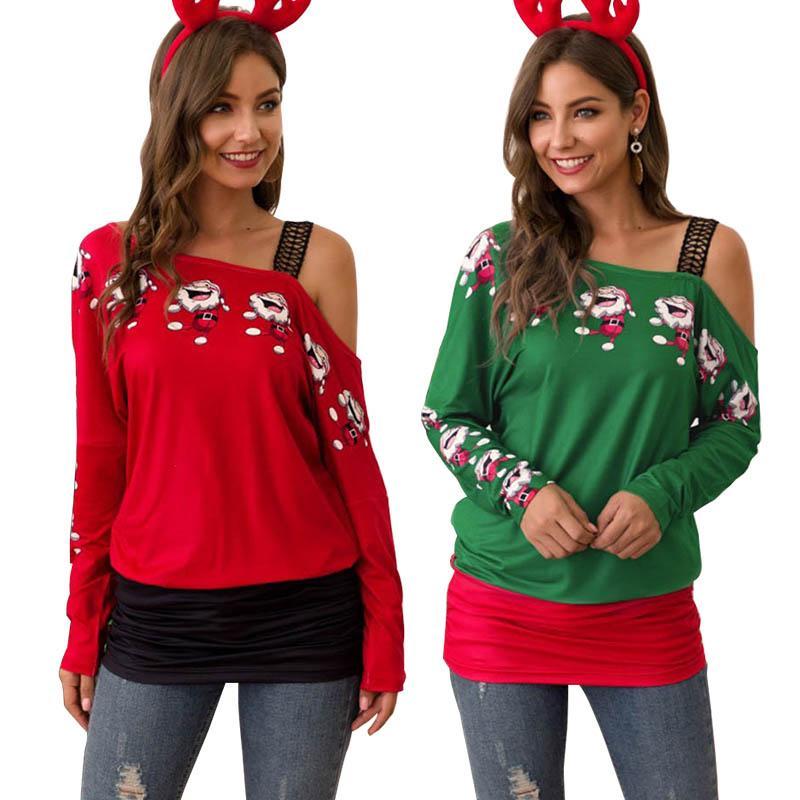 Женщины Рождества футболки Санта Клаус Печать Повседневного Tops Дама плечо Кофта с длинным рукавом Sexy Тис женщина Рождество Одеждой 0509