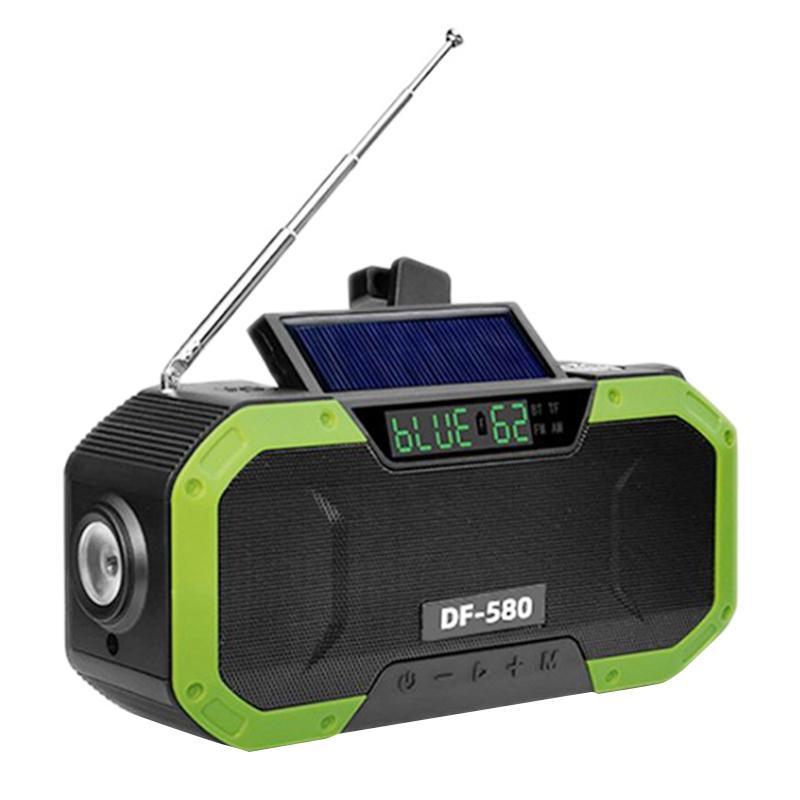 Portable IPX6 étanche Haut-parleur Manivelle solaire Radio multifonction d'urgence Bluetooth de soutien SOS Alarme AM / FM NOAA