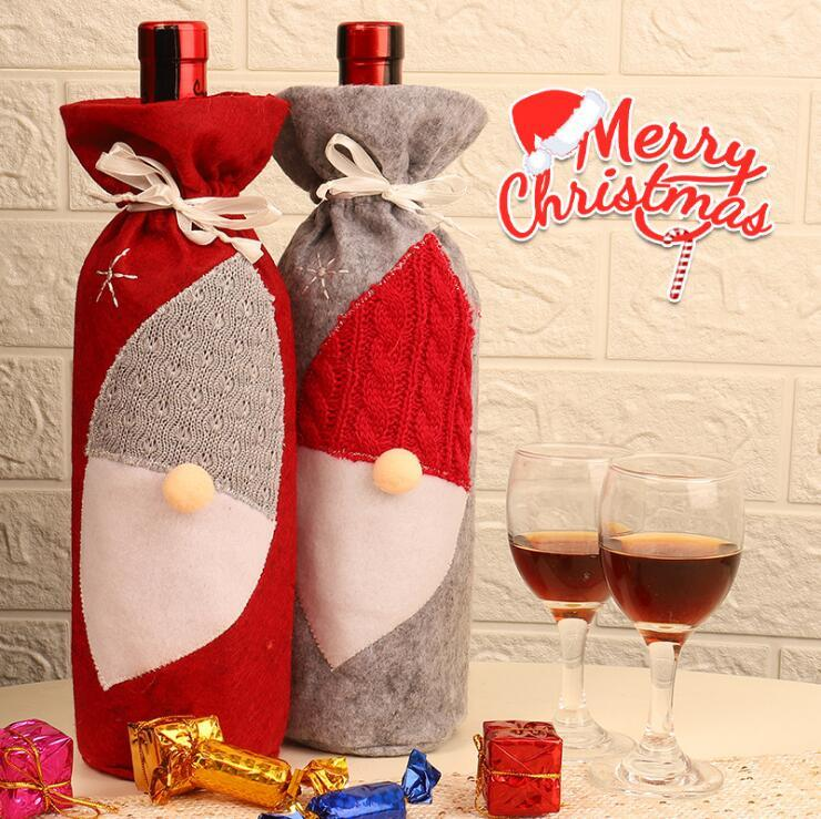 Red Wine Bottle Cover Bags Faceless Santa Claus bottle Holder Gnome Christmas Decoration Party Decor Beer Bottles Cover 2 colors GWC2242