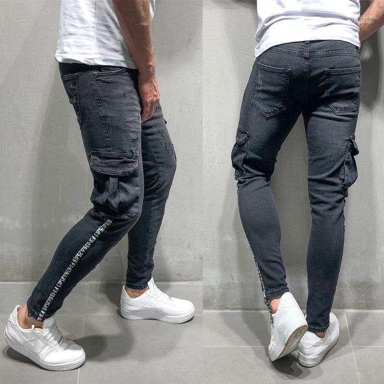 Zipper Biker Jeans Herren Schwarz Ripped Bleistift-Hosen-Frühlings-Herbst-große Taschen Designer Striped Letters
