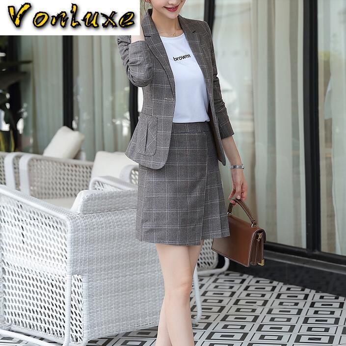Vintage Suits Women Slim Plaid Blazer Top Sexy Pleated Mini Skirt 2 Piece Set Casual Formal Work Office Ladies Wear Outfit
