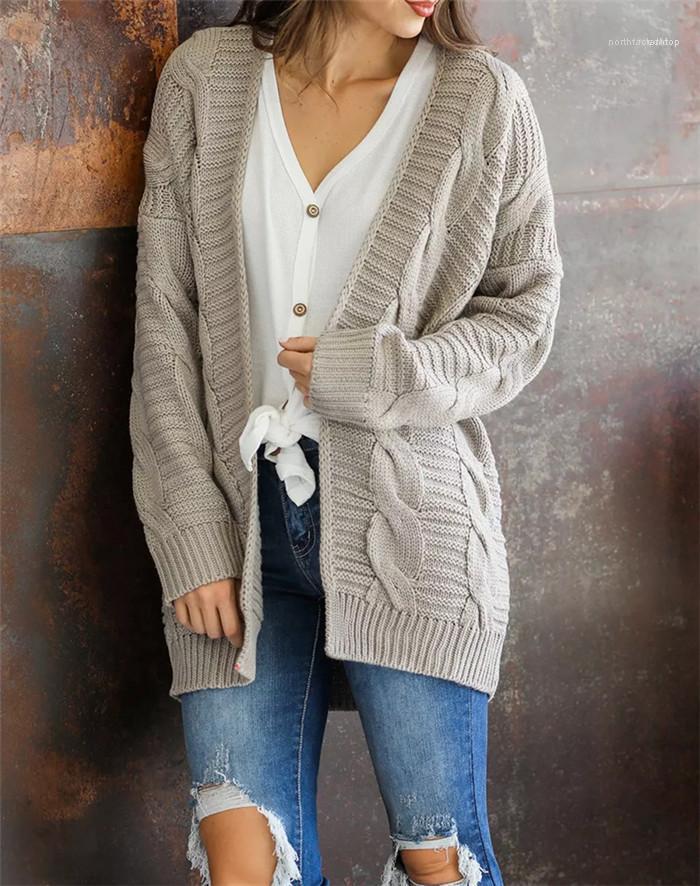 Couleur manches longues en vrac Cardigan style dames Mode Manteau Femmes Cardigan en maille Pull Solid Designer