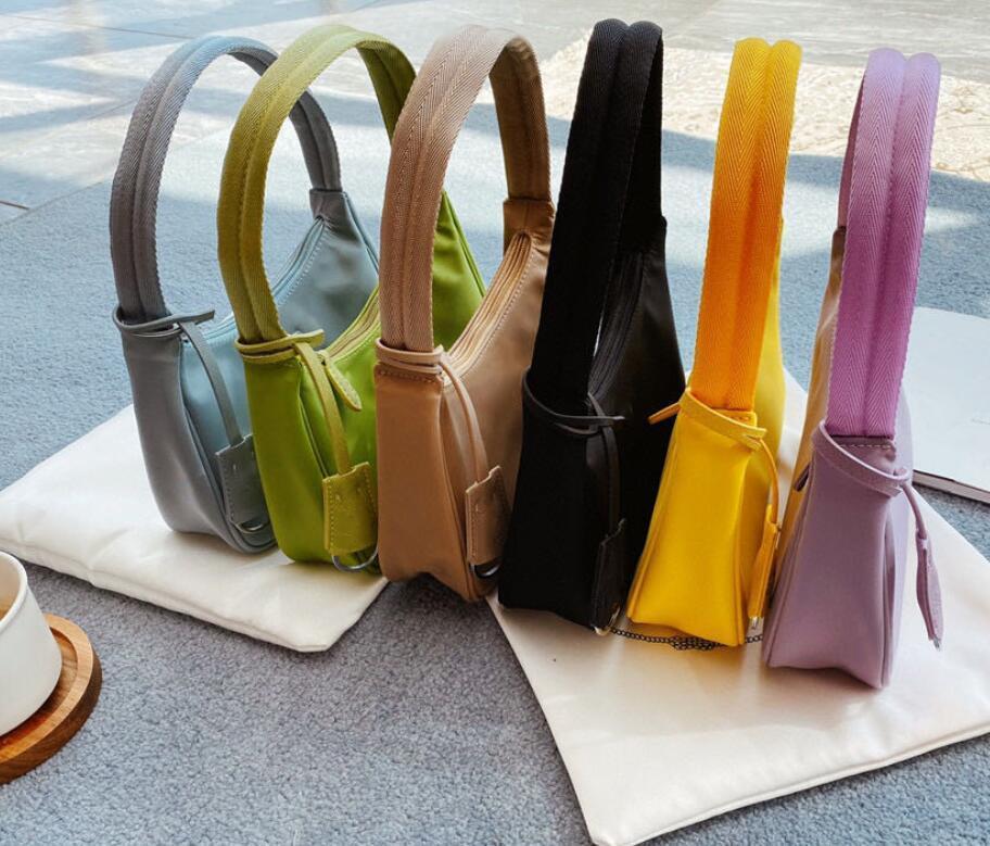 المرأة العلامة التجارية حقائب الكتف حقيبة يد الأزياء الرغيف الفرنسي النايلون سيدة عالية الجودة حقيبة الإبط حجم: 22 * 13 سنتيمتر
