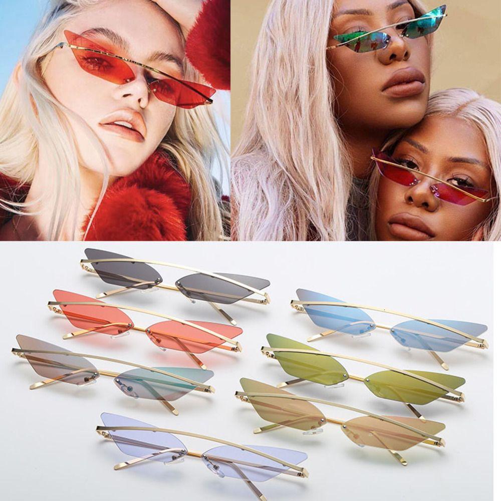 Kadın UV400 için Ayna Steampunk Shades Toptan Güneş Kadınlar Moda Metal Çerçevesiz Kedi Göz Güneş Gözlükleri Toplu