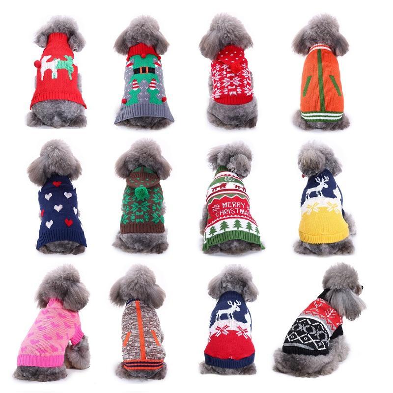 Warm Sweater Haustier-Hund kleidet für kleinen Hund Sweater Weihnachten Halloween-Katzen-Kostüm Winter-Strick-Hunde-Mantel-Jacken-Katze-Kleid 35