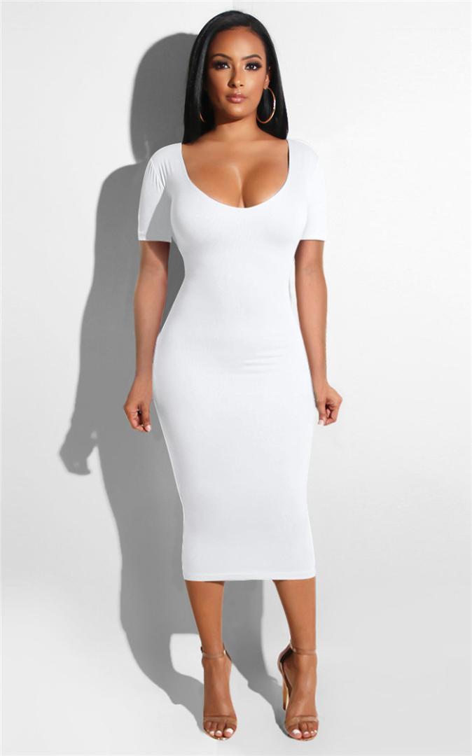 Sommer Designer-Kleid Frauen aushöhlen Bahnenkleid Solid Color Short Sleeve Scoop Neck legere Kleidung Famale