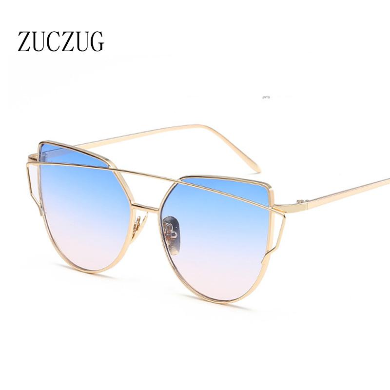 ZUCZUG Sunglasses Women Luxury Cat eye Brand Design Mirror Flat Rose Gold Vintage Cateye Fashion sun glasses lady Eyewear