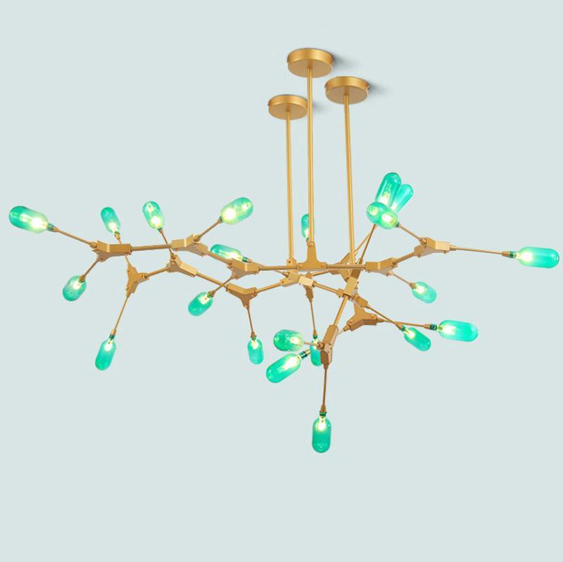 2020 ثريا الشمال غرفة المعيشة غرفة الطعام الزجاج الأخضر جزيء أدى أضواء الحديثة فرع الحديد الفن بسيطة الزجاج الأخضر قلادة مصابيح