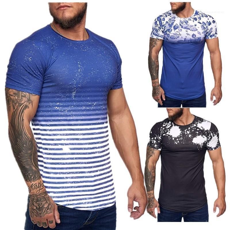 التمويه بلايز O-عنق قصير الأكمام عارضة بلايز أزياء صيف جديد اللون الطبيعي الرجال تيز للرجال ملابس الرجال