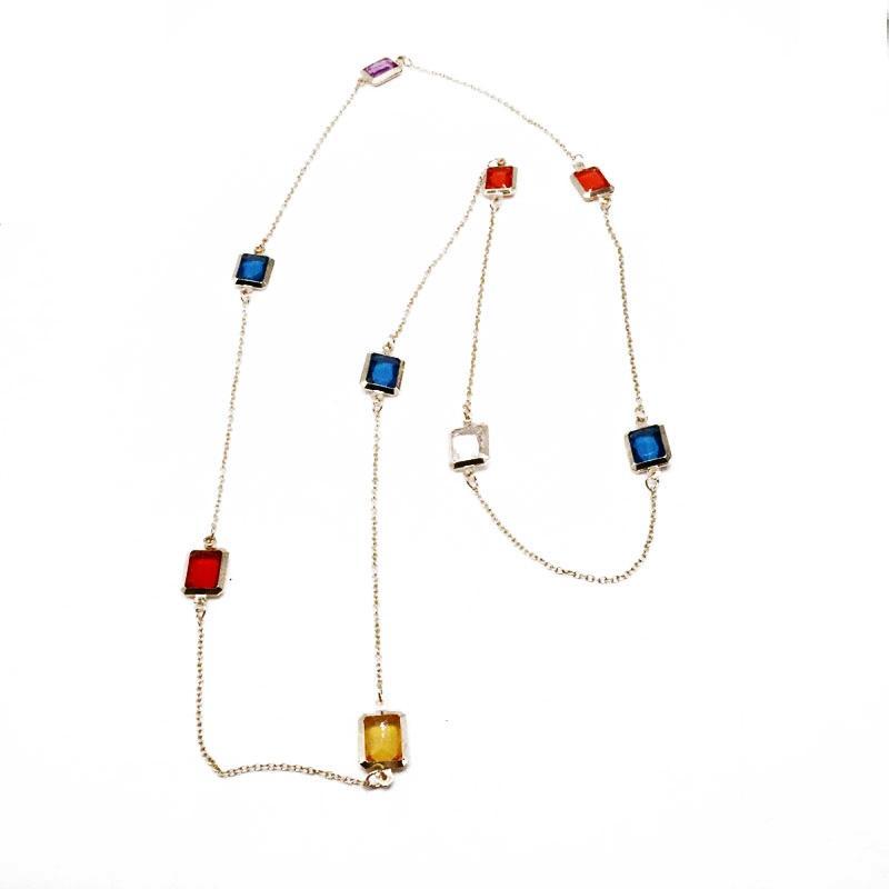 Бесплатная доставка Красочных площади Подвеска два различного Размер Простого ожерелье оптовой партия отдых свитер украшение для женщин девочек