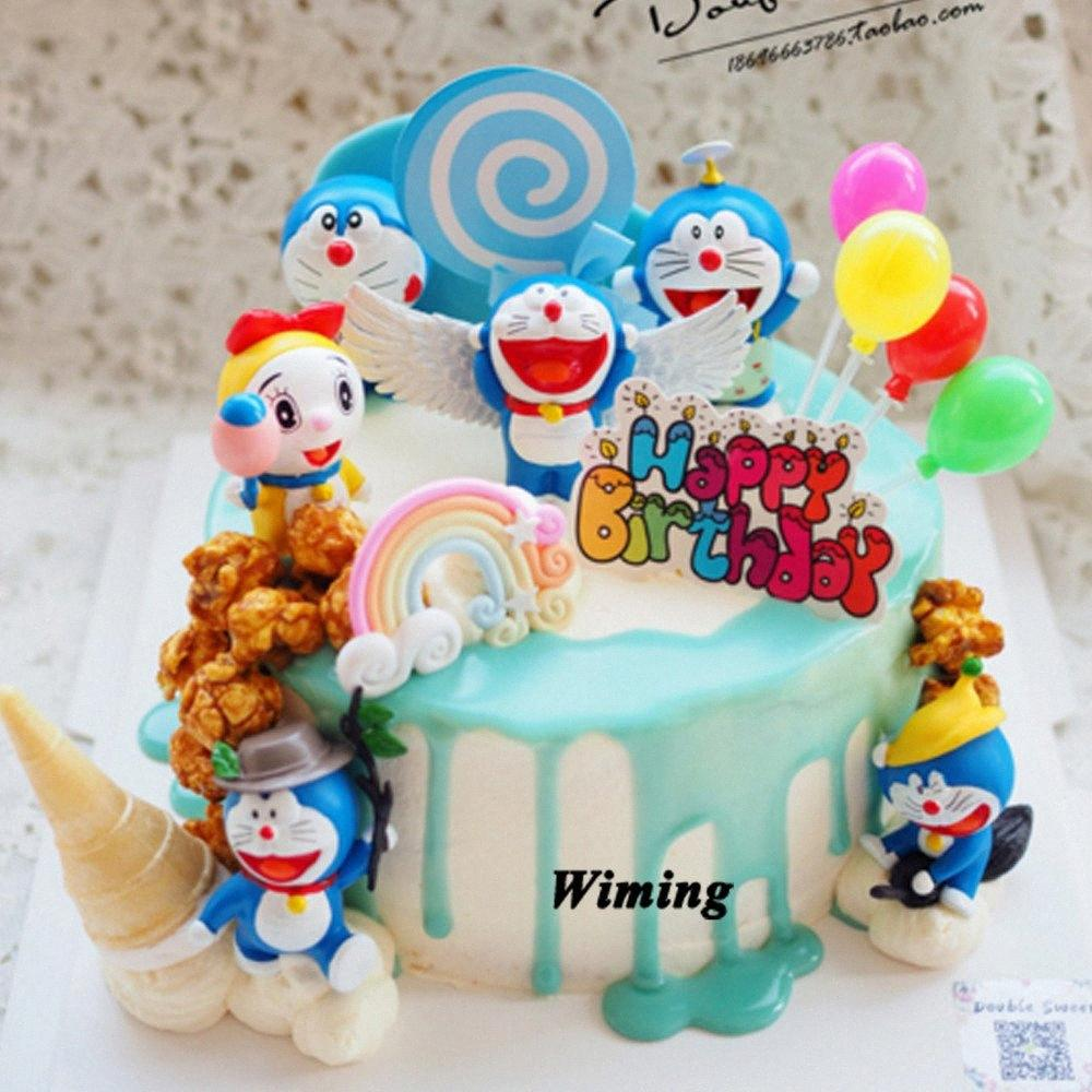doraemon cat cartoon cake topper toys for kids baby children return gifts party supplies 1st birthday decorations cupcake topper ulcd#