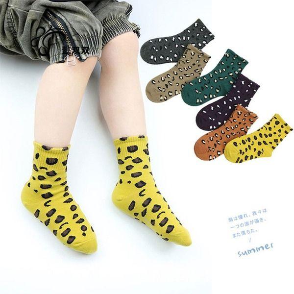 Fashion Leopard Print Children's Sockss Autumn Winter Cotton Sock For Girls Boys 5 Pairs/set Decorative Socks Warm Ankle Sockss