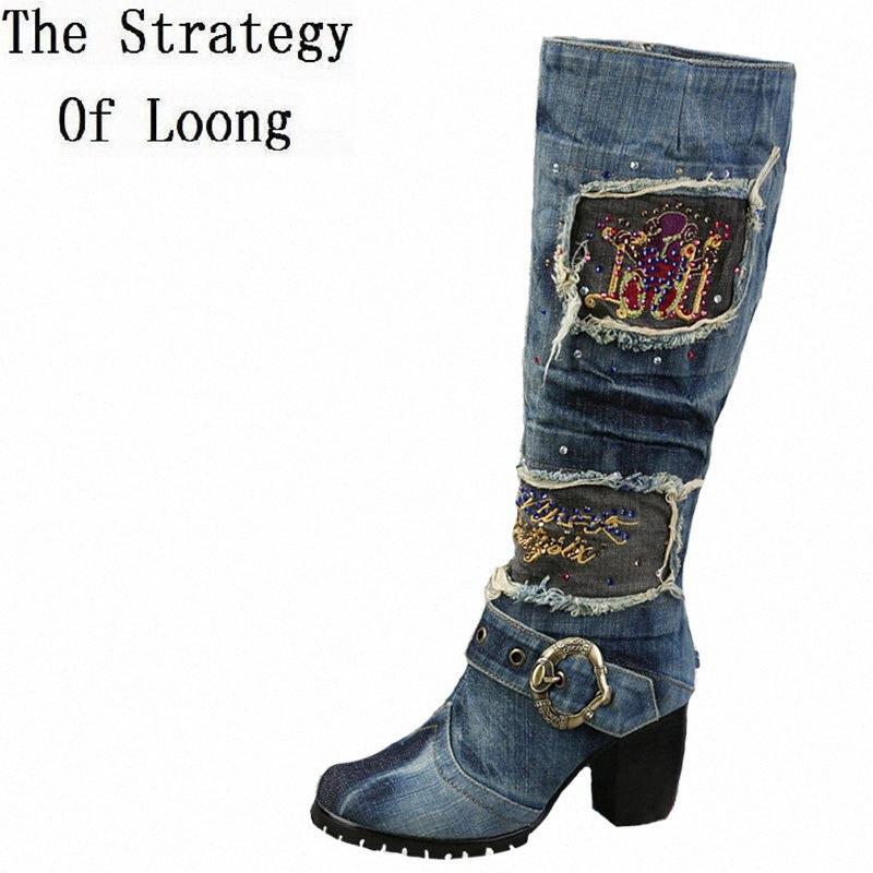 Salto mulheres grossas Beading Azul Denim botas de inverno curto Plush Grosso Quente Joelho Crystal Knight alta Botas Plus Size 40 41 42 ZDCU #