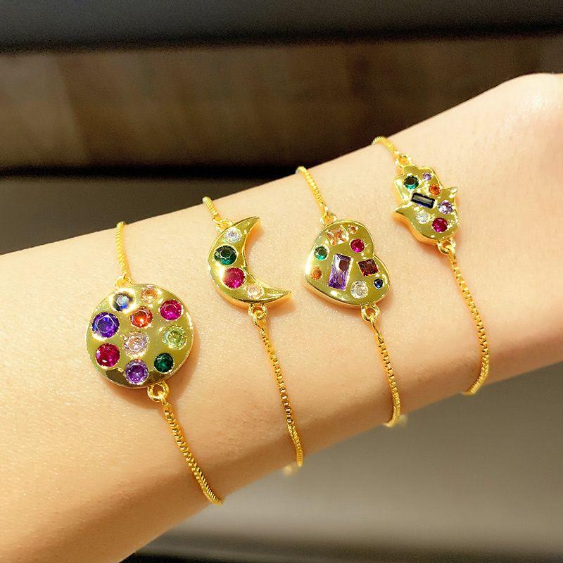 Gold Rainbow Fatima Hand Bracelets For Women CZ Crystal Heart Hamsa Heart Charm Braceletsx Filled Women Jewelry brtb92