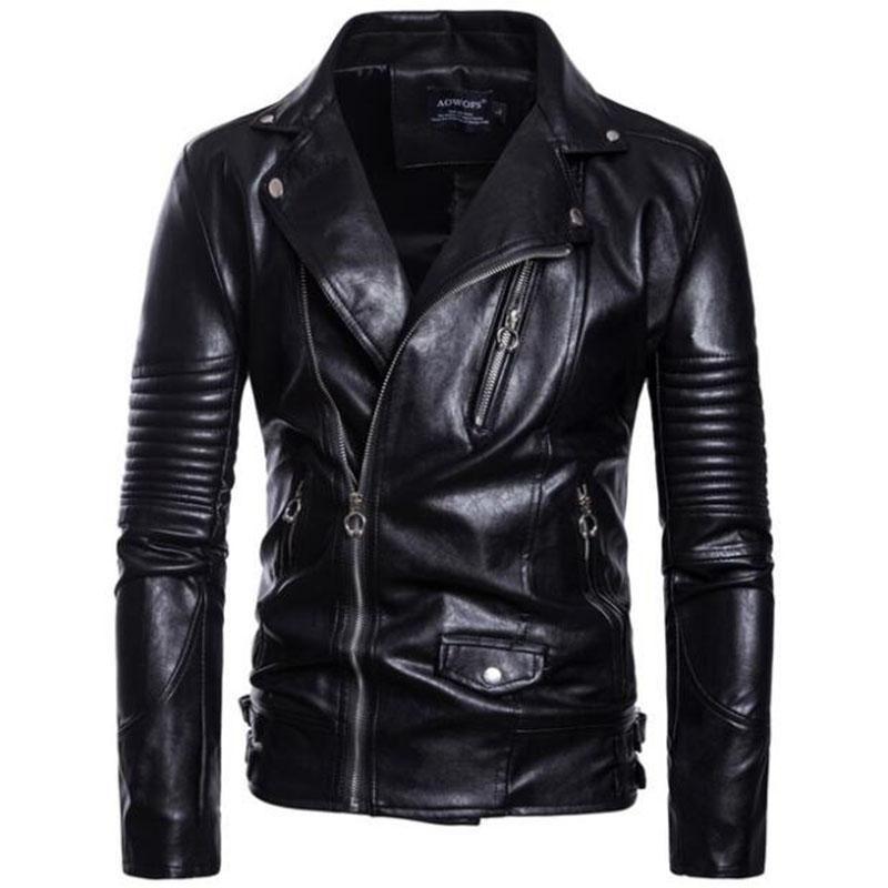 Mens Leather Jackets Motorcycle Turn-down Collar Zipper Pockets Coats Male Biker Split Leather Fashion Autumn Outerwear