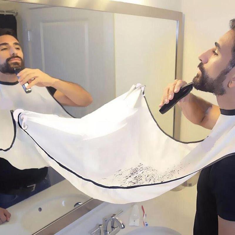 Unisexe visage Barbe Cheveux Shave Haircut Tablier réutilisable Moustaches Cape Catcher tissu Wrap cheveux parage de coupe Wrap pour salons de coiffure