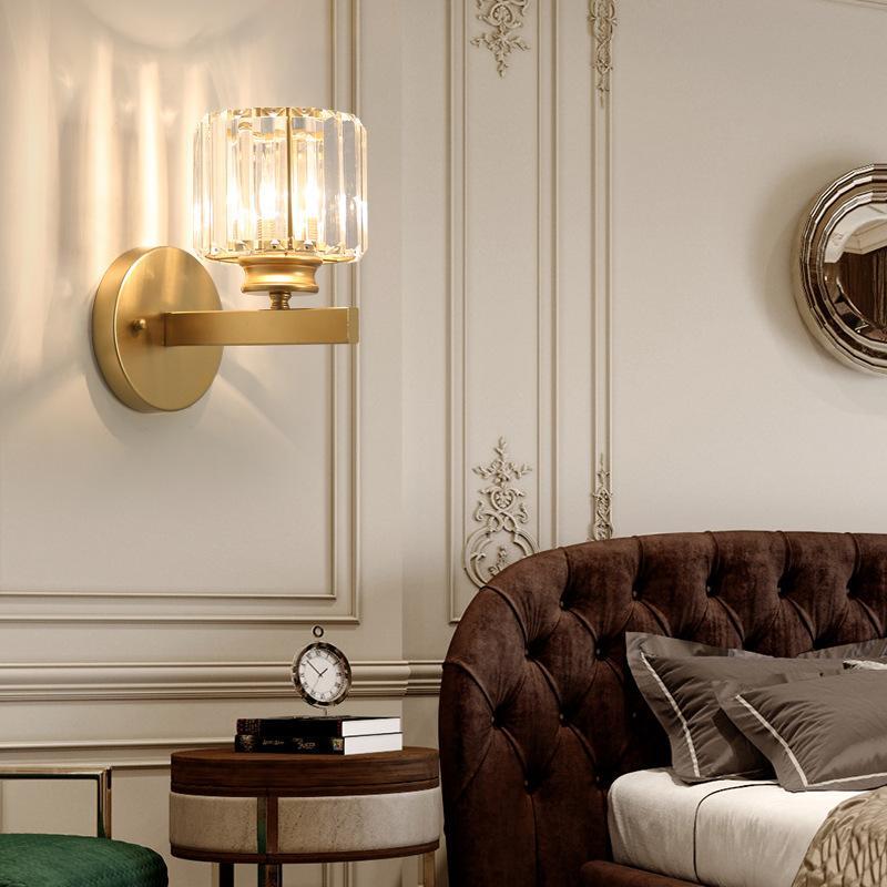 Light Light Modern Minimalist Crystal Wall Light Creative Round / Square Style E27 Lampada da parete per Cafe Bar Corridor Home Decor